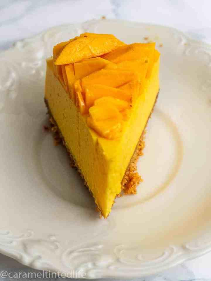 A slice of mango cheesecake