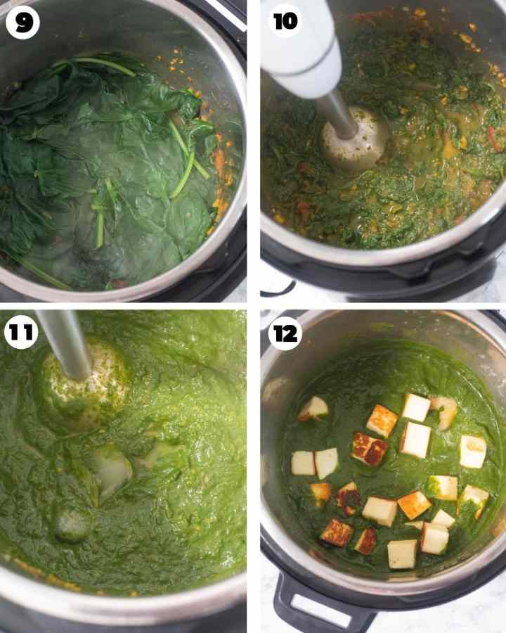 Blending cooked spinach in a sauce for saag paneer
