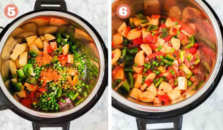 Collage showing addition of spices to vegetables in Instant Pot