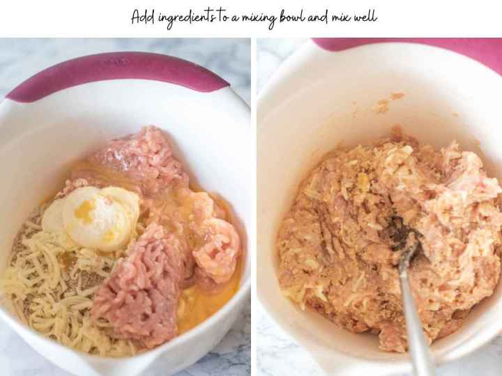 Images showing ingredients for chicken patties mixed in a bowl