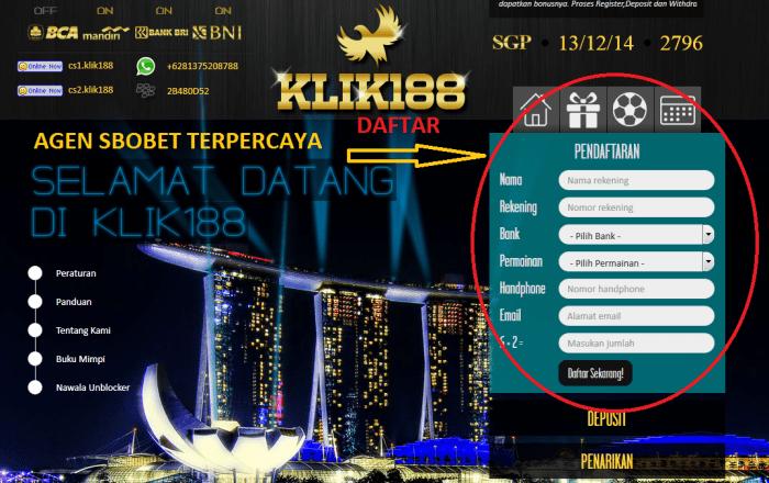 cara daftar judi casino online di klik188