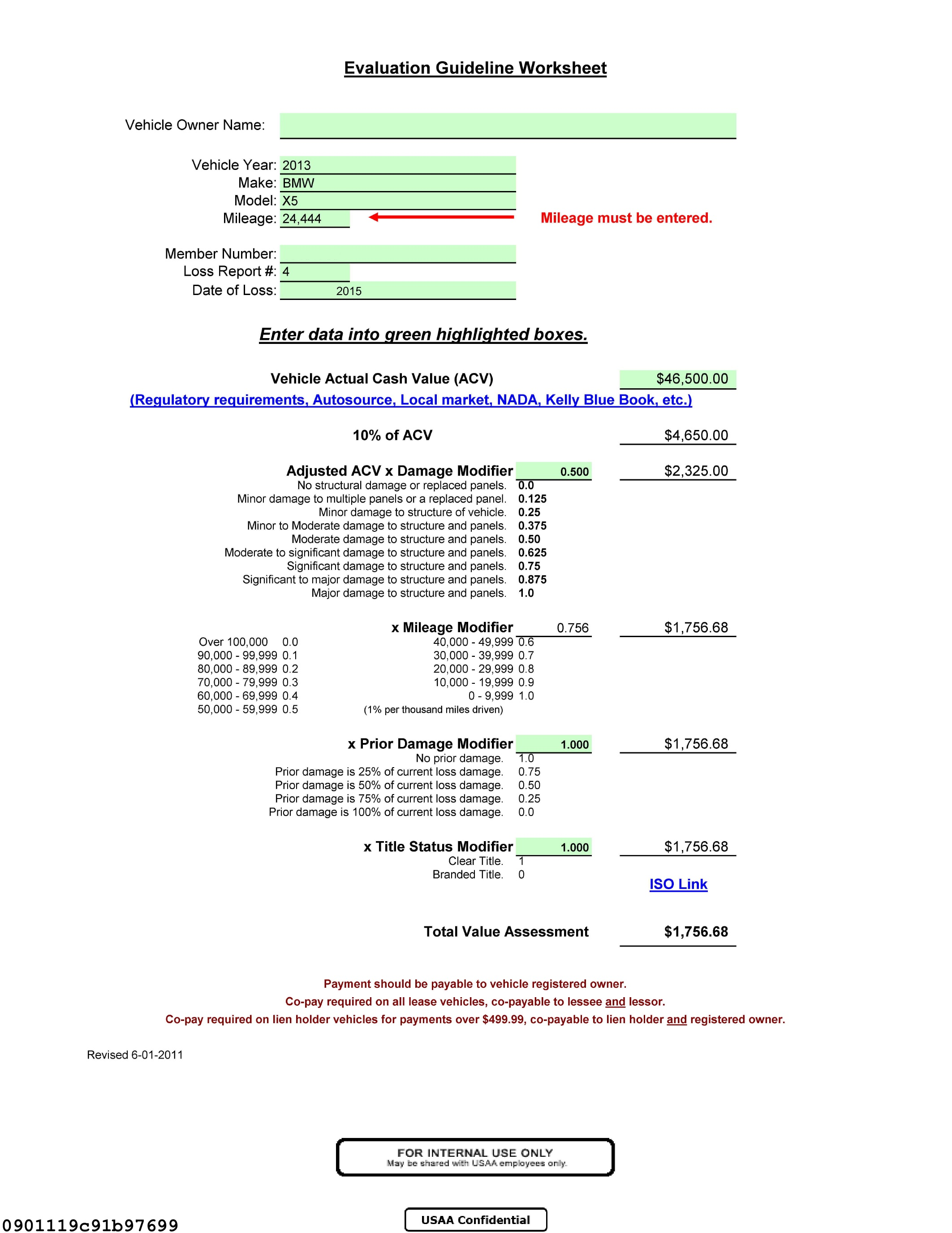 Worksheet Calculate Value