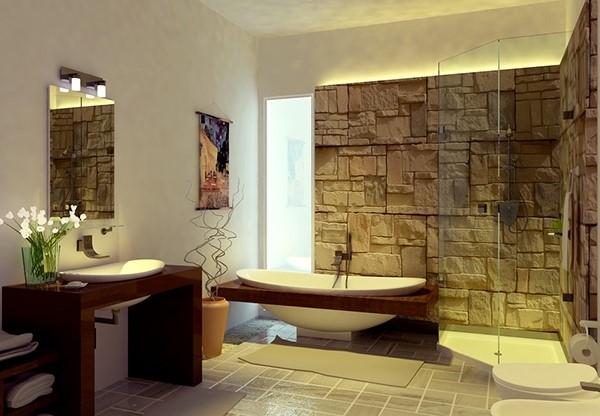 Desain Kamar Mandi Hotel Minimalis Yang Cantik dengan dinding batu alam