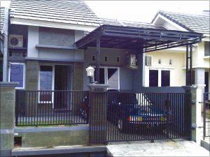 Desain pagar batu alam rumah minimalis type 36