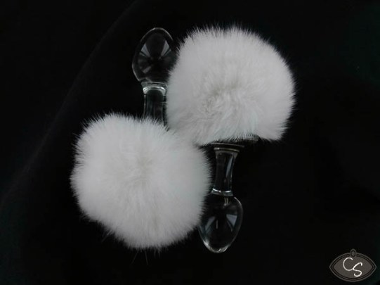 win free crystal delights white fluffy magnetic bunny tail