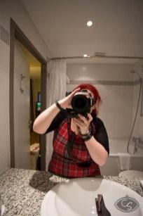 Peekaboo lady photographer!