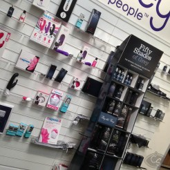 lovehoney tour visit - fifty shades of grey sex toys and happy rabbit vibrators stand display