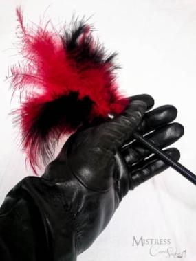 leather gloved hand of Mistress Cara