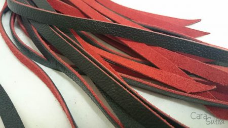 UberKinky Rounded Handle Leather Flogger Review | Black And Red Suede Flogger With Steel Handle