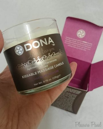 DONA by JO Kissable Massage Candle Chocolate Mousse Review Pleasure Panel Cara Sutra