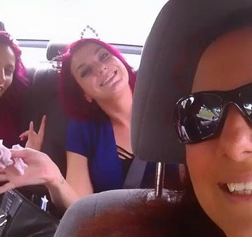 Ruby Derriere, Mellie D and I on the road.