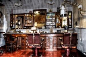 昔の欧米の理容室