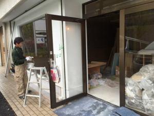 玄関の工事の様子