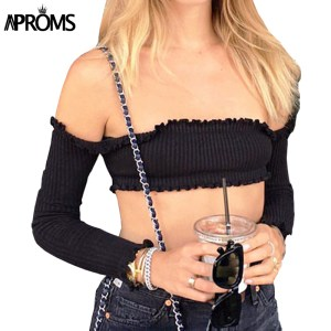 Aproms 2017 Black Knitted Crop Top Women Short T-shirt Sexy Off Shoulder Bar Tank Top Camisole Casual 90s Girls Party Tops 21269