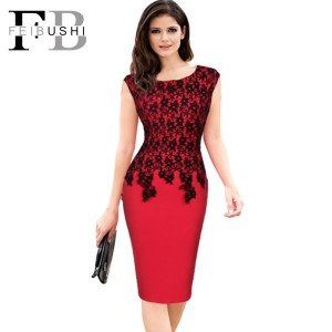 FEIBUSHI Women Sexy Vintage O-Neck Lace Patchwork Sleeveless Zipper Club wear Casual Pencil Office Bodycon Dress