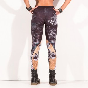 Women Plus Size Leggings High Waist Pencil Pants Floral Printed Elastic Stretch Slim High Waist Elastic Women Leggings Pants MODEL 5