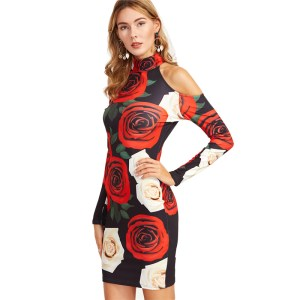 COLROVIE Office Ladies Elegant Dress Full Sleeve Tight dresses Multicolor Floral Print Cold Shoulder Sheath Dress