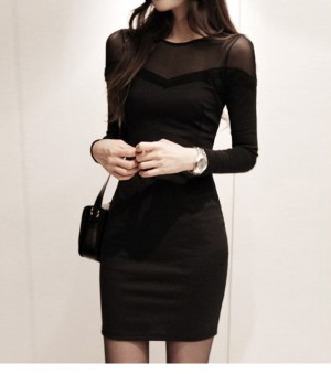 Amoin Sexy Autumn Winter Little Black Dress Women Long Sleeve Cotton Mesh Lace Bodycon Pencil Evening Party Short Dress
