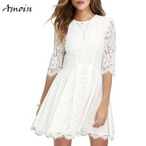 Amoin Women Mini Lace Dress Summer 2017 Elegant White O-neck Half Sleeve Cute Short Dress A Line Sexy Party Dress