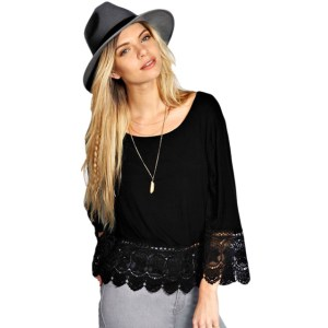 S-XL Sexy Lace Women T-Shirts Fashion Solid Long Sleeve T Shirt Plus Size Petal Sleeve T-shirt Casual Loose Women Tops