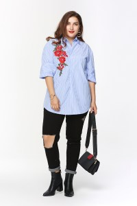 Women Shirts 2017 New Fashion Striped Notched for Spacious Body Large Plus Size Woman Office Blouse Formal Ladies Blusa Xadrez