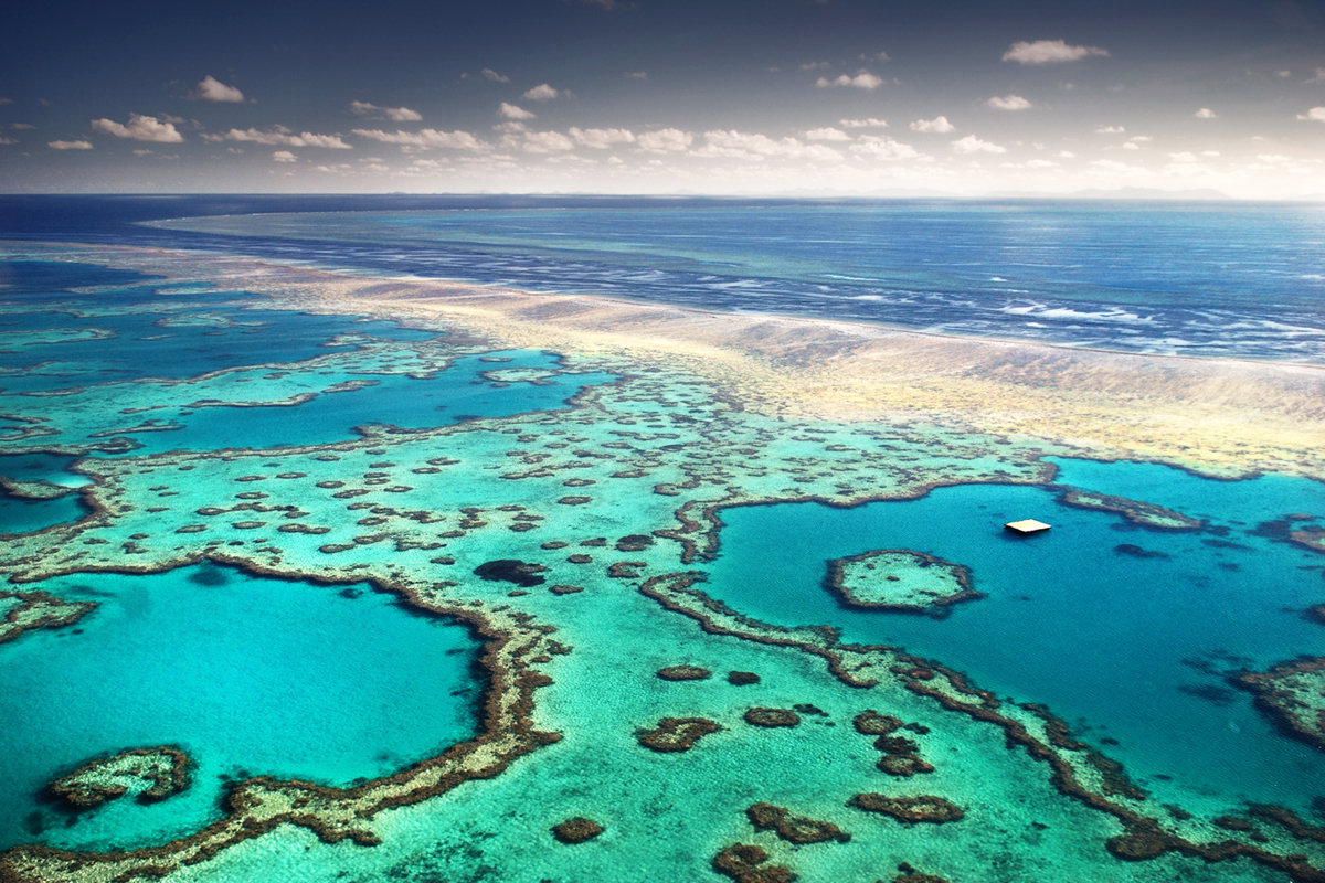 Great Barrier Reef It's easy to see why the Great Barrier Reef is one of the Seven Natural Wonders of the World – it stretches nearly 1,500 miles along the eastern coastline of Australia and features 3,000 coral reefs, 600 islands and more than 1,600 species of fish. Travelers can see these amazing natural structures from the air or underwater. However, large amounts of coral bleaching (caused by rising ocean temperatures) threaten to destroy this massive marine life habitat, so plan your visit soon to see this awesome sight up close.