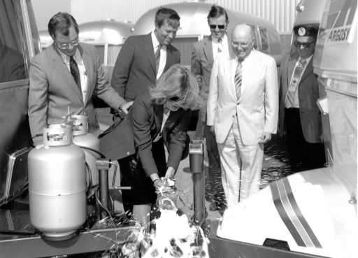 Champagne christening of Airstream's China Clipper built specifically for the Caravan America-China program that began in 1985