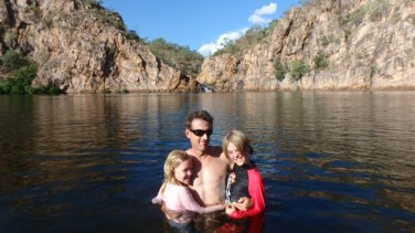 These three swam across to the falls, Edith Falls