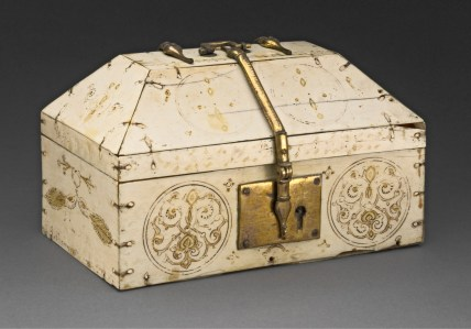 """Casket. Sicily, 12th century. Ivory, brass, tempera, and gold leaf. The Art Institute of Chicago, Samuel P. Avery Endowment, 1926.389 This ivory box, or casket, was made in Sicily, where the Arabic-speaking Muslim population contributed significantly to a unique visual culture. It is economically fashioned from thinly cut pieces of elephant ivory held together with ivory pegs. The presence of a lock and lock plate made of gilded brass, a copper alloy, indicates that the casket's contents were precious. The delicate ornamental motifs, rendered in tempera and applied gold leaf, are complemented by an inscription in Arabic, """"May glory endure."""" With its combination of ivory, copper and gold, the box speaks to the circulation of precious materials important to trans-Saharan trade."""