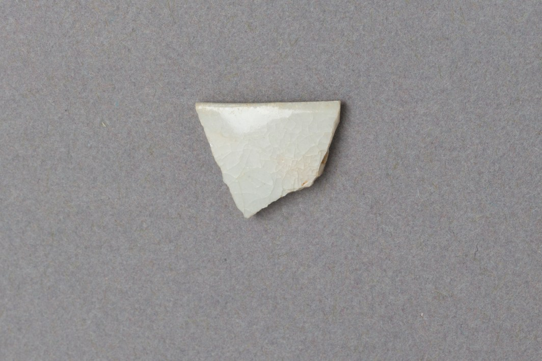 Fragment of Qingbai porcelain (1.48 x 1.74 cm) found at Essouk-Tadmekka, Mali. China, Northern Song dynasty, 10th/12th century. Institut des sciences humaines, Bamako, Mali. Photograph by Clare Britt
