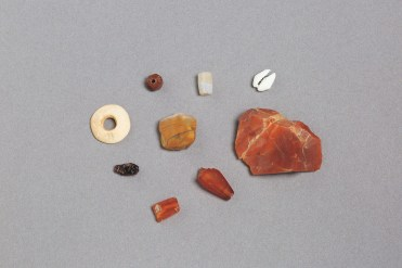 Stone beads and semi-precious stones excavated from Essouk-Tadmekka. Institut des sciences humaines, Mali. Photograph by Clare Britt