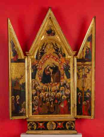 Coronation of the Virgin, Italy, 15th century. Tempera and gold on panel, 76.2 x 55.9 cm. Loyola University Museum of Art, Chicago, IL, the Martin D'Arcy, S.J., Collection, gift of Eileen O'Shaughnessy, 1985, 1985:03. Photograph by Clare Britt Medieval Christian artworks were often embellished with gold leaf. In this panel painting from Italy, Christ places a crown on the head of his mother Mary, symbolizing her role as Queen of Heaven. Angels and other holy figures fill the heavenly space that is conveyed by the golden background. Much of the gold used in Italy came from West Africa through trans-Saharan trade routes. Beginning in the thirteenth century, Italian city-states such as Florence and Venice began minting gold coins largely made from West African gold. These coins were beaten into thin sheets of foil, which were then used as gold leaf. From one coin, craftsmen could make more than one hundred leaves.
