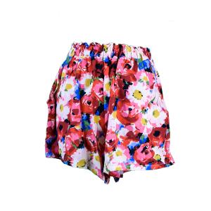 Pantalón curto de cintura alta e perna frouxa con estampado de flores en amarelo, azul, branco, rosa e vermello