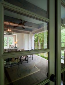 Indoor seating area through door