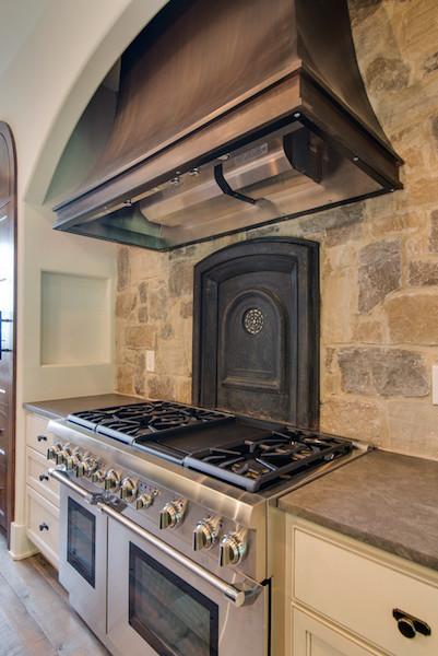 Stone Backsplash of Contemporary Tuscan Home, Carbine & Associates, Franklin, TN