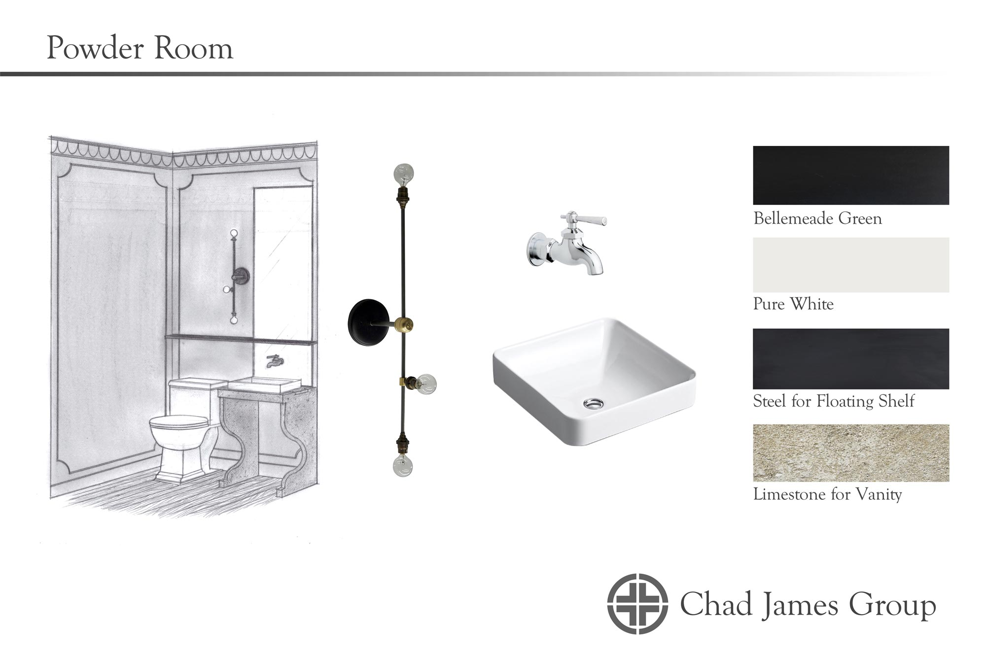 Powder Room Design H4H Design Board