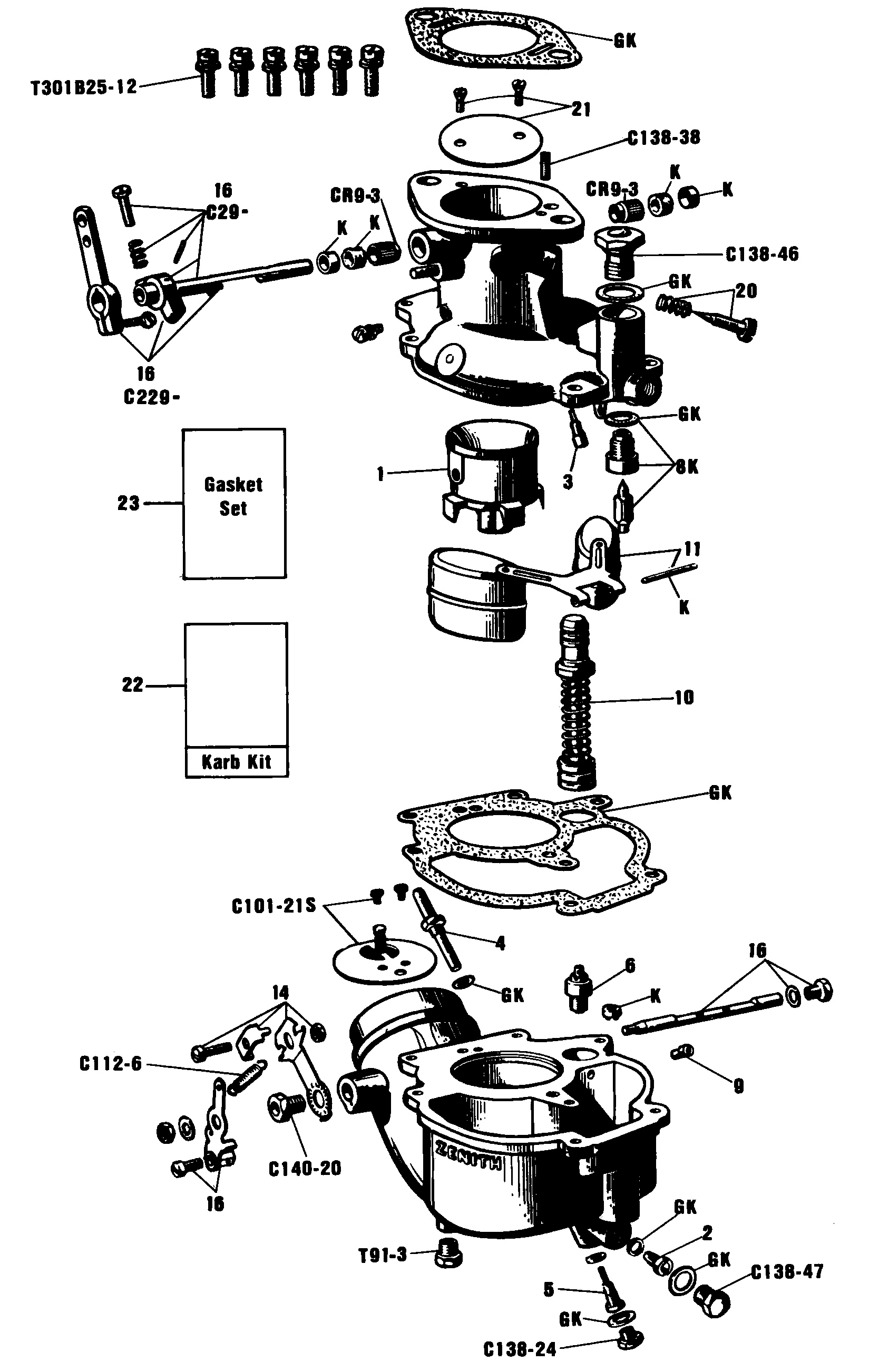Zenith Carburetor Parts Diagram