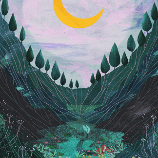 A golden giant crescent moon sits in a golden pink sky, above a tree lined valley, leading down to an emerald pool where an auben haired mermaid makes her home