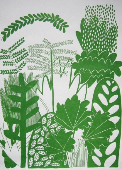 Layered leaves close to the viewer portray a jungle of giant plants
