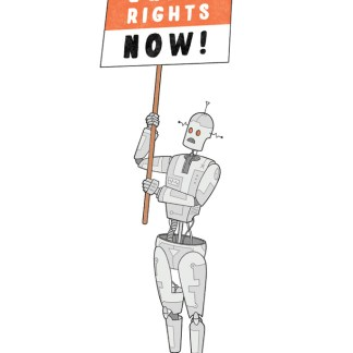 A silver, 1950's styled, human form robot holds a red, black and white protest plackard reading Equal Rights Now.