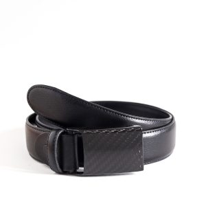 black basic leather belt carbon design
