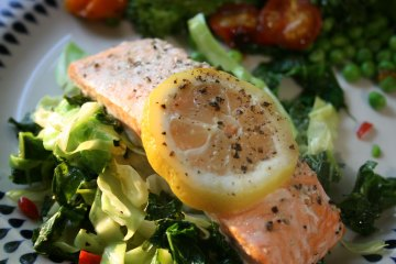 Baked trout with kale and cabbage