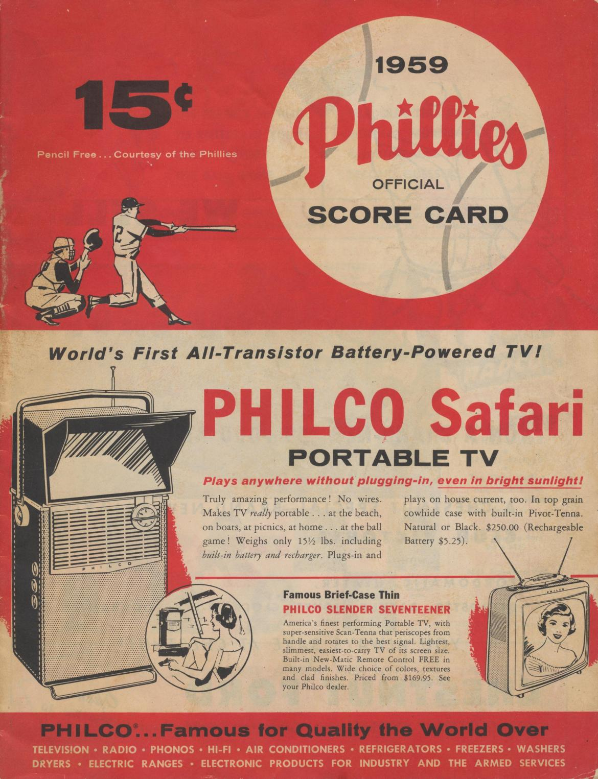 1959 Phillies Official Scorecard