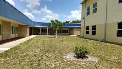Courtyard facing east.