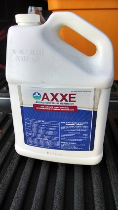 Axxe is a strong, herbicidal soap. It burns the head off of any vegetation.