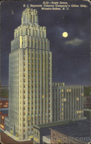 Night Scene R J Reynolds Tobacco Companys Office Bldg