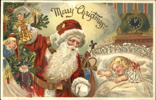 Santa Looking Over A Sleeping Child Santa Claus