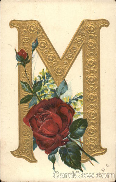 Gold Letter M And Red Rose Alphabet Letters