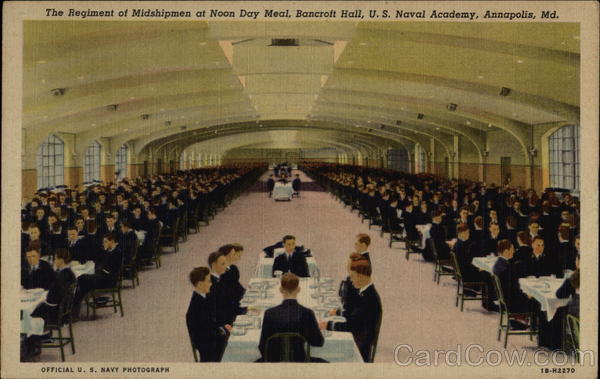 The Regiment Of Midshipmen At Noon Day Meal Bancroft Hall