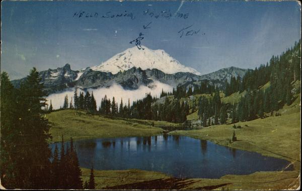 Mt Rainier And Tipsoo Lake Coming Through The Pass